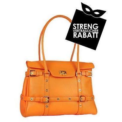 Fontanelli Orangefarbene Handtasche aus Kalbsleder mit Schnallen
