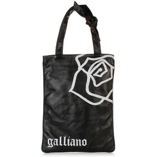 Galliano Black Leather Shopper N-S Print white