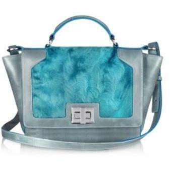 Leonardo Delfuoco iPad-Tasche aus blauem Schaffell und grauem Leder