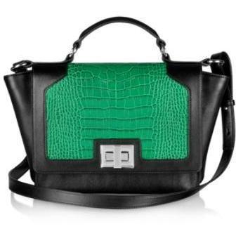 Leonardo Delfuoco iPad Tasche aus krokogeprägtem Leder in schwarz und grün