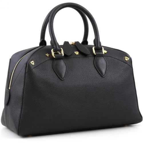 mcm first lady boston s henkeltasche leder schwarz designer handtaschen paradies it bags. Black Bedroom Furniture Sets. Home Design Ideas