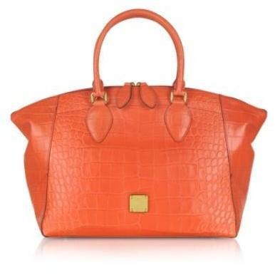 MCM First Lady - Bowler Tasche aus krokogeprägtem Leder