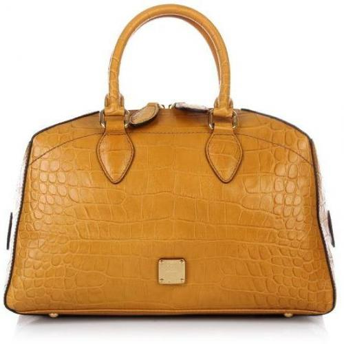 MCM First Lady Croco Boston Small Honey