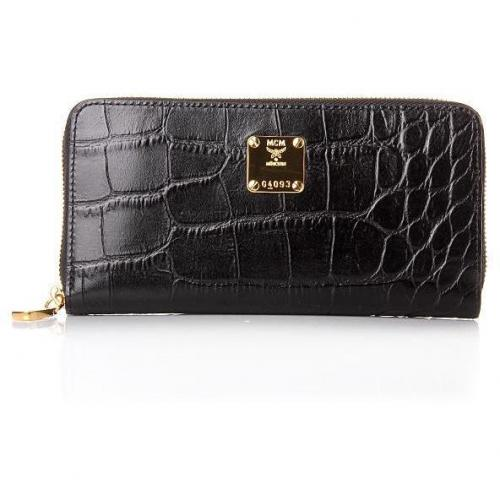 MCM First Lady Croco Zipped Wallet Black