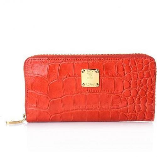MCM First Lady Croco Zipped Wallet Orange