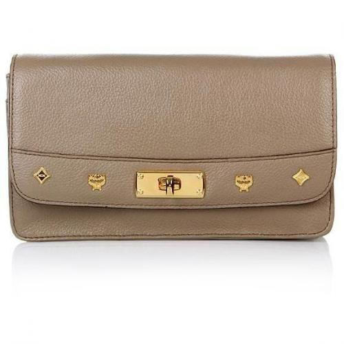 MCM First Lady Crossbody Wallet Large Taupe