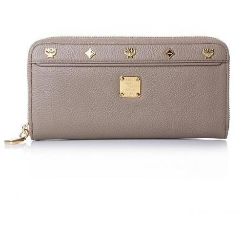 MCM First Lady Zipped Wallet Large Taupe