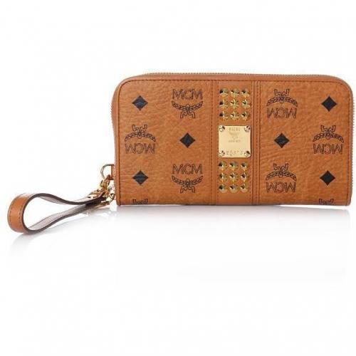 MCM Funk Rock Luxury Zipped Wallet Cognac