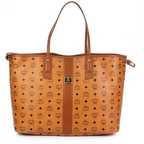 MCM Heritage Line Reversible Large Shopper Cognac