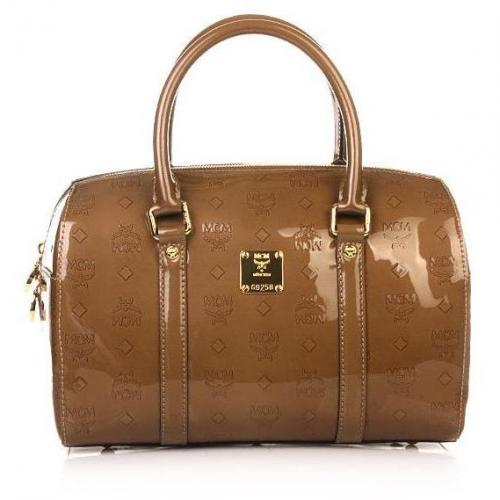 MCM Ivana Patent Boston Medium Taupe