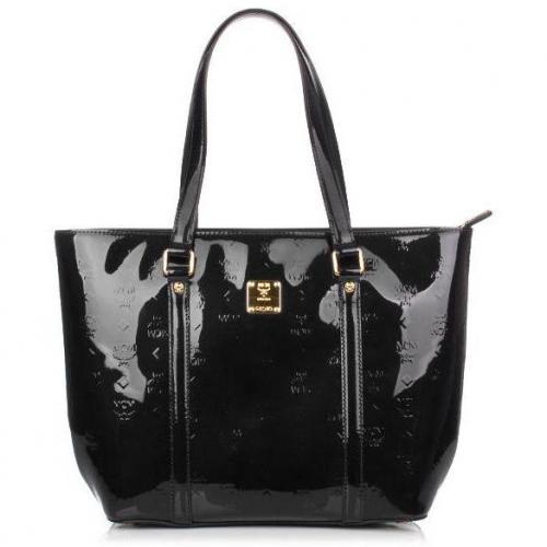 MCM Ivana Patent Shopper Large Black