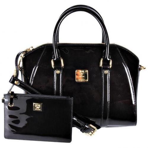 mcm lack bowling bag schwarz designer handtaschen paradies it bags burberry gucci prada. Black Bedroom Furniture Sets. Home Design Ideas
