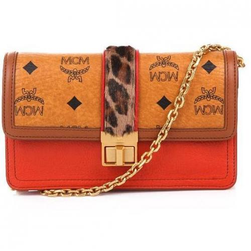 MCM Little Veronika Visetos Wallet Orange