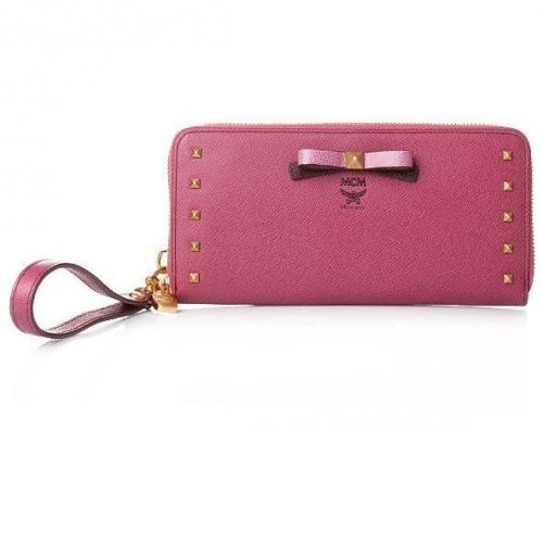 MCM Mina Zipped Wallet Large Pink