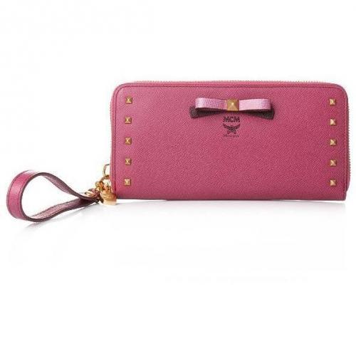 MCM Mina Zipped Wallet Large Pink