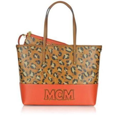 MCM Shopper Project - Mittelgroße Umhängetasche mit Leopardenprint und Logo
