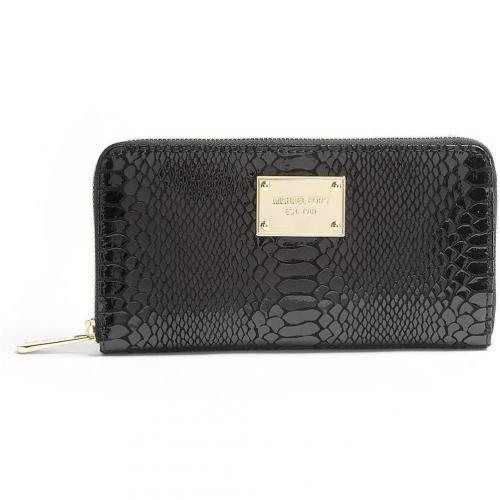 Michael Kors Black Patent Python Jet Set Zip Around Continental Purse by
