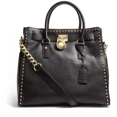 Michael Kors Large Black Hamilton Whipped North South Tote