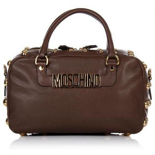 moschino nieten henkeltasche braun. Black Bedroom Furniture Sets. Home Design Ideas
