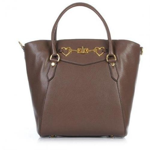 Moschino Tote Gold Hearts Brown