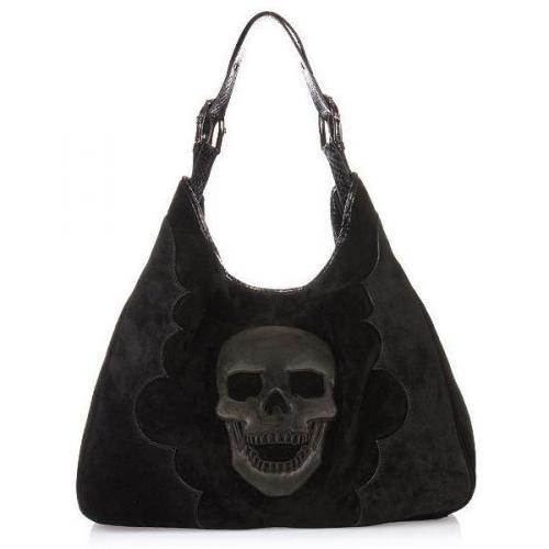 philipp plein tote bag suede skull black designer. Black Bedroom Furniture Sets. Home Design Ideas