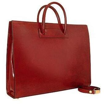 Pratesi Klassische polierte Damen-Aktentasche aus braunem Leder