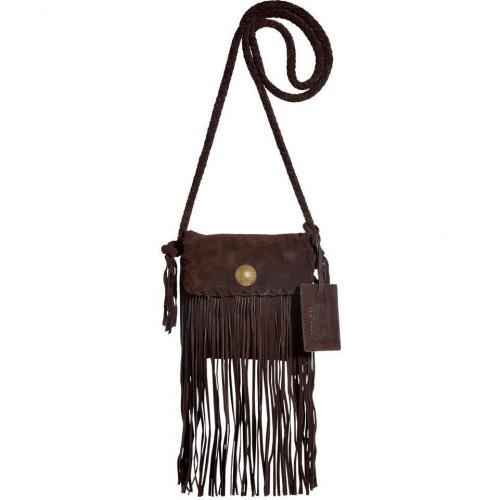 Ralph Lauren Collection Chocolate Suede Flat Crossbody Bag