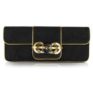 ralph lauren collection clutch aus wildleder in schwarz und gold. Black Bedroom Furniture Sets. Home Design Ideas