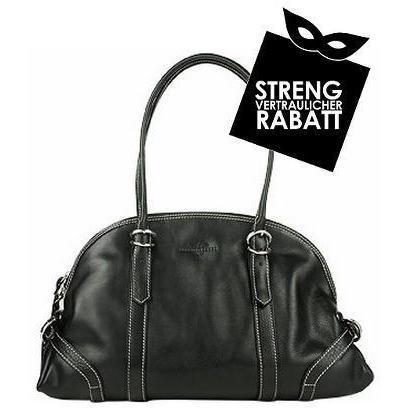 Robe di Firenze Schwarze Tasche aus Leder im Bowling-Stil
