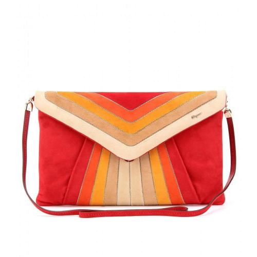 Salvatore Ferragamo Cloud Clutch Aus Veloursleder