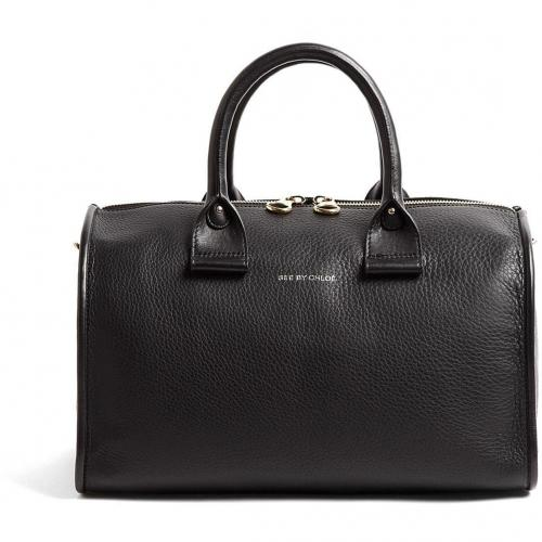 See by Chloe Black April Big Duffle Zip Around Leather Tote