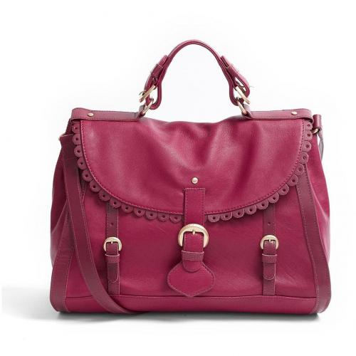 See by Chloe Burgundy Poya Scalloped Doctors Leather Satchel