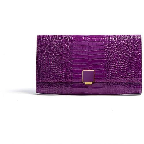 Smythson Stamped Leather Clutch Bag