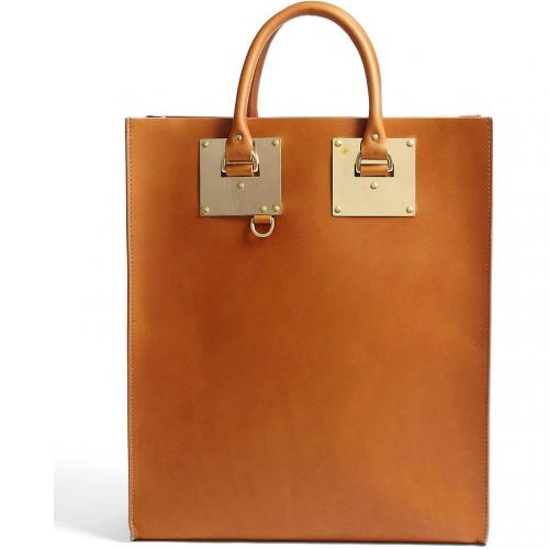 Sophie Hulme Large Leather Tote Bag With Goldplate Hardware