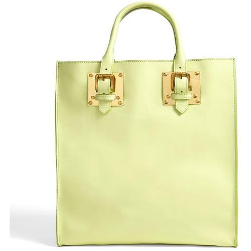 sophie hulme medium lime leather tote with gold plated hardware designer handtaschen paradies. Black Bedroom Furniture Sets. Home Design Ideas