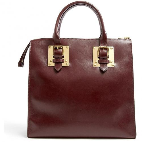 Sophie Hulme Square Leather Zip Top Buckle Tote