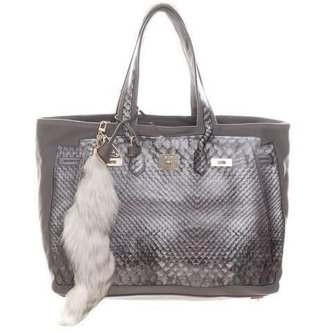 V73 Shopper Luxury taupe-grey Kunstpelz Fuchsschwanz
