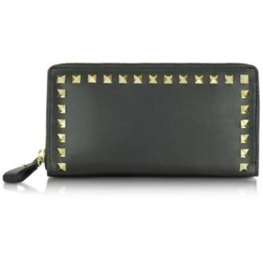 Valentino Garavani Rockstud - Brieftasche aus schwarzem Leder mit Reißverschluss