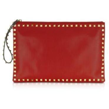 Valentino Garavani Rockstud - Clutch aus rotem Leder mit Reißverschluss