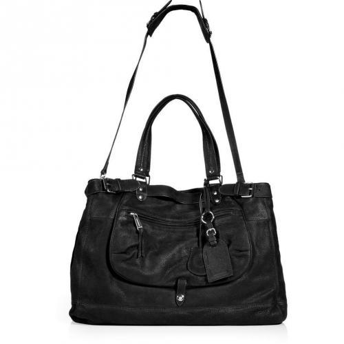 vanessa bruno black leather tote with shoulder strap. Black Bedroom Furniture Sets. Home Design Ideas