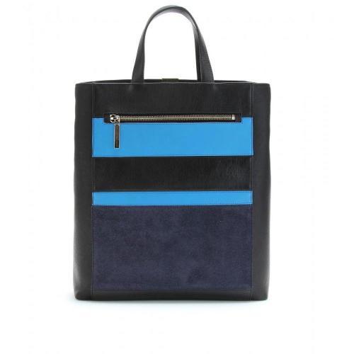 Victoria Beckham Gestreifter Ledershopper Electric Blue/Black/Navy