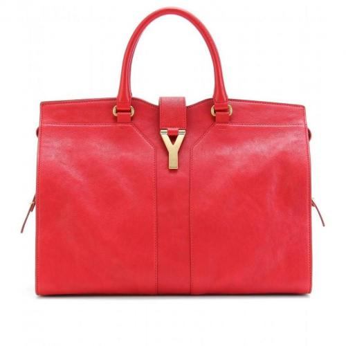 Yves Saint Laurent Large Cabas Chyc East/West Ledertasche Poppy