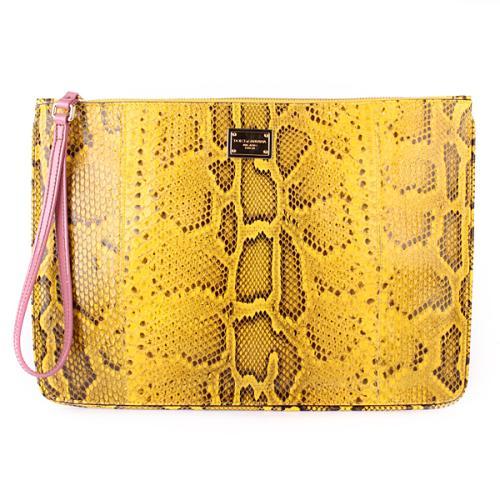 Dolce&Gabbana Pochette Python Giallo/Rosa