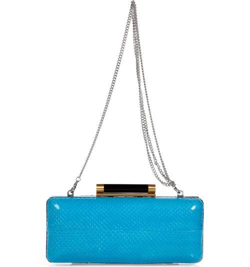 Diane von Furstenberg Aegean Blaue Tonda Snake Clutch Bag