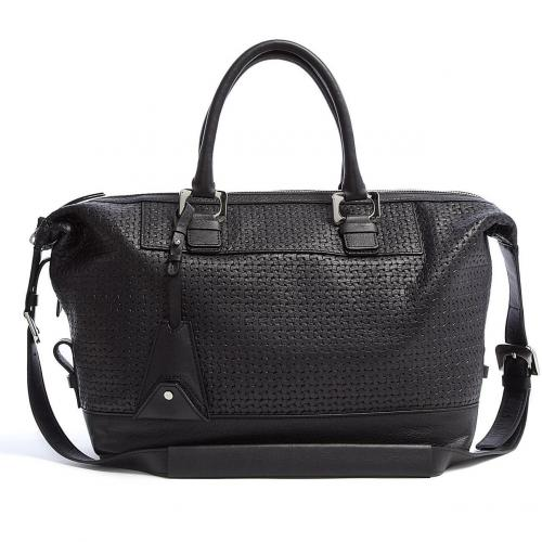 Diane von Furstenberg Black Basket Leather Drew Tote