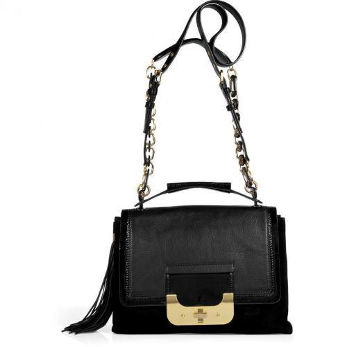 Diane von Furstenberg Black Harper Connect Tablet Pocket Cut Bag