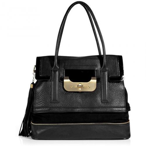Diane von Furstenberg Black Harper Laurel Shoulder Bag