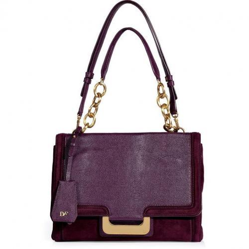 Diane von Furstenberg Garnet Embossed Leather/Suede New Harper Shoulder Bag