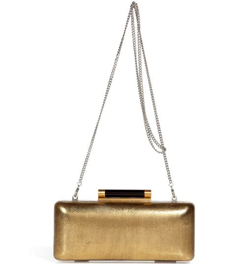 Diane von Furstenberg Gold Tonda Metallic Clutch Bag