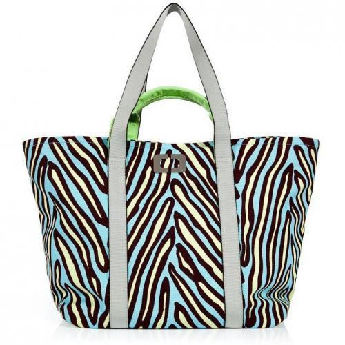 Diane von Furstenberg Herringbone Blue Large Kaya Printet Canvas Bag